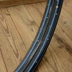 """Fahrradfelge Satz f. Wulstbereifung, 26"""" x 1 1/2 (584), Stahl, schwarz/blau, orig. 30-50er Jahre, 36 Loch, 32mm breit"""