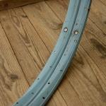 """Fahrradfelge Satz f. Wulstbereifung, 26"""" x 1 1/2 (584), Stahl, türkis/weiss, orig. 30-50er Jahre, 36 Loch, 33mm breit"""