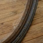 """Fahrradfelge f. Drahtbereifung   28"""" , (622), Stahl, schwarz, Linierung weiss, orig. 40er Jahre (WK2), 36 Loch, 40mm breit"""