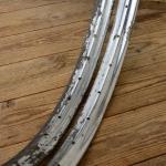 """Fahrradfelge Satz f. Wulstbereifung, 28"""" x 1 1/2 (635), Stahl, verchromt, orig. 30er Jahre, 32/40 Loch, 40mm breit"""