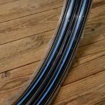 """Fahrradfelge f. Drahtbereifung, 26"""" x 1.75, (559), Stahl, schwarz blau/weiss, orig. 30-50er Jahre, 36 Loch, 35mm breit"""