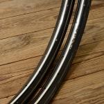 """Fahrradfelge f. Drahtbereifung, 26"""" x 1.75, (559), Stahl, schwarz gold/weiss, orig. 30-50er Jahre, 36 Loch, 36mm breit"""