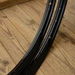 """Fahrradfelge f. Drahtbereifung, 28"""" x 1 1/2, (635), Stahl, schwarz, orig. 30-50er Jahre, 36 Loch, 38mm breit"""