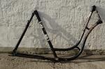 "Fahrradrahmen  ""GÖRICKE"",  Damenausf., schwarz, rot/weiss, 28 Zoll,  RH=55cm, 50/60er J., ohne Gabel u. Tretlager"