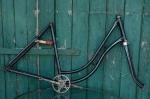 """Fahrradrahmen  """"OPEL"""",  Damenausf., schwarz,  RH=53cm, 20er J., incl. Gabel u. Tretlager"""