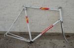 "Fahrradrahmen, ""PEUGEOT Paris"", Rennrahmen, weiss , 28 Zoll,  RH=66cm, 80er J., incl. Gabel u. Innenlager"