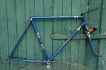 "Fahrradrahmen  ""BISMARCK"",  Herrenausf., Sport, blau , 28 Zoll,  RH=56cm, 50er J., incl. Gabel ohne Tretlager"