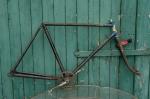 """Fahrradrahmen  """"NSU"""",  Herrenausf., schwarz / blau-weiss , 28 Zoll,  RH=56cm, 50er J., incl. Gabel u. Tretlager"""