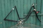 """Fahrradrahmen  """"LSB"""",  Damenausf., schwarz , 28 Zoll,  RH=56cm, 30er J., incl. Gabel u. Tretlager"""