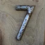 Winkelsattelstütze, Durchmesser: 24,3 mm, Länge: 165 mm, gebraucht, orig. 10-40er Jahre, Zustand siehe Bilder.