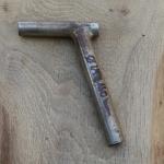 Winkelsattelstütze, Durchmesser: 24 mm, Länge: 160 mm, gebraucht, orig. 10-40er Jahre, Zustand siehe Bilder.