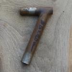 Winkelsattelstütze, Durchmesser: 26 mm, Länge: 160 mm, gebraucht, orig. 10-40er Jahre, Zustand siehe Bilder.