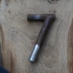 Winkelsattelstütze, Durchmesser: 26 mm, Länge: 180 mm, gebraucht, orig. 10-40er Jahre, Zustand siehe Bilder.