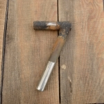 Winkelsattelstütze, Durchmesser: 22 mm, Länge: 195 mm, gebraucht, orig. 10-40er Jahre, Zustand siehe Bilder.