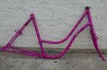 """Fahrradrahmen """"Unbekannt"""" Damenausf. 26 Zoll, Stahl, pink geflammt, RH=50 cm, 90er Jahre"""