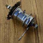 """Nabe Hinterrad,""""F+S Torpedo"""", verchromt, 50er Jahre, sehr guter Zustand, groß gebohrt (3,2 mm) für Lastenrad , HiMo o.ä.,  incl. Ritzel Z20"""