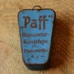 """Flickzeug Blechdose """"PAFF"""" orig. 50er Jahre, 82 x 53 x 21 mm, ohne Inhalt"""