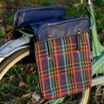 Packtaschen für Fahrrad, blau / kariert, orig. Altbestand