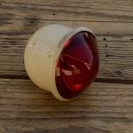 Domlinsen Strahler, ungemarkt, alte Neuware 20/30er Jahre, cremeweiss lackiert (orig.Lack) , Glas top, s. Bilder.
