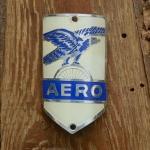 Steuerkopfschild  AERO, blau, 30-50er Jahre, Originalschild aus Sammlungsbestand