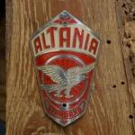 Steuerkopfschild  ALTANIA, rot, 30-50er Jahre, Originalschild aus Sammlungsbestand