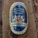 Steuerkopfschild BREMER SCHLÜSSEL, 30-50er Jahre, Originalschild aus Sammlungsbestand