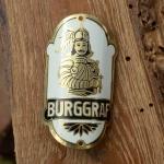 Steuerkopfschild BURGGRAF, 30-50er Jahre, Originalschild aus Sammlungsbestand