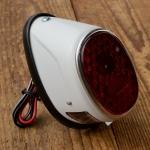 Rücklicht Moped, Motorfahrrad, Motorrad, 6V, Blechausführung weiß m. Kennzeichenbeleuchtung