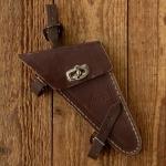 Werkzeugtasche für Damenräder, LOHMANN, braun, orig. 30/40er Jahre, alte Neuware, leichte Lager-Patina