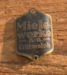 """Steuerkopfschild  """"MIELE"""", 50er Jahre,  Originalschild (seltene Sportradausf.) aus Sammlungsauflösung!"""