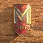 """Steuerkopfschild  """"MIFA"""", 50er Jahre,  Originalschild aus Sammlungsauflösung! top emailliert,"""