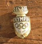 """Steuerkopfschild  """"OLYMPIA"""" Bielefeld 30-50er Jahre, sehr gut erhaltenes Originalschild! Alte Neuware!"""