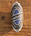 """Steuerkopfschild  """"BRANDENBURG"""", 30-50er Jahre, sehr gut erhaltenes Originalschild!"""