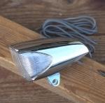 Scheinwerfer SPORT, orig. 60-80er Jahre, verchromtes Kunststoffgehäuse, Stromlinienform, incl. Halter und Kabel