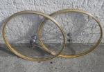 """Laufradsatz Drahtfelge 26"""" (559) , NOS Stahlfelgen Holzdekor f. Bereif. 26 x 1.75 oder 26 x 2.00, hinten F&S1935, vorne Dürkopp-Nabe"""