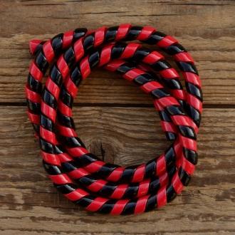 Zierspirale / Bowdenzugummantelung, rot/schwarz, 120cm lang, orig. Altbestand 60/70er J.