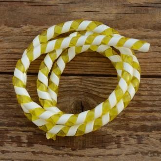 Zierspirale / Bowdenzugummantelung, transp.-gelb/weiss, 120cm lang, orig. Altbestand 60/70er J.