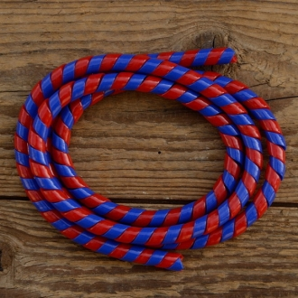 Zierspirale / Bowdenzugummantelung, rot/blau, 120cm lang, orig. Altbestand 60/70er J.