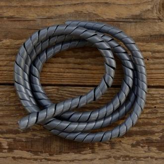 Zierspirale / Bowdenzugummantelung, silbergrau, 120cm lang, orig. Altbestand 60/70er J.