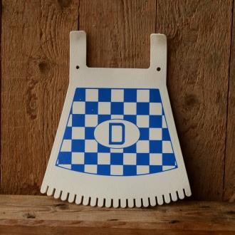 Schmutzfänger, blau-weiß, mit D-Zeichen u. Fransen