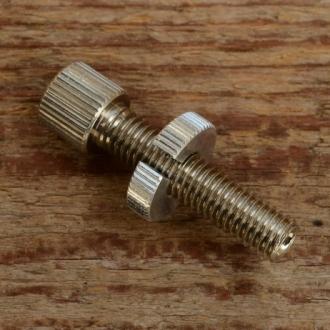 Stellschraube M8, L=42mm, Messing vernickelt, m. grosser Rändelmutter