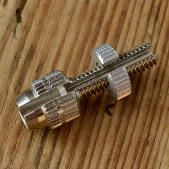 Stellschraube M6, L=32/20mm, geschlitzt, D_innen=6.5/2.5mm, Messing vernickelt