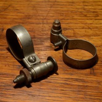Spitzpumpenhalter, Stahl unbehandelt aus Altbestand, mit Federklemmung u. Feststellschraube