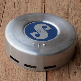 "Polradabdeckhaube ""SACHS 98ccm"", Aluminium, 145mm, incl. Sachs Emblem (blau)  u. 3 Nieten"
