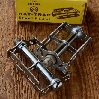"""Pedale Sport """"Büchel RAT-TRAP"""", verchromt, französische Ausführung, Gewinde M14 x 1.25 !!!, orig. Altbestand"""