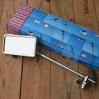"Spiegel Moped, ""BUMM 920P"", verchromt,  links/rechts Anbau, L30cm, Stange 8mm"