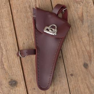 Werkzeugtasche, Leder, rotbraun,  Beschläge vernickelt, passend für viele Damenradklassiker