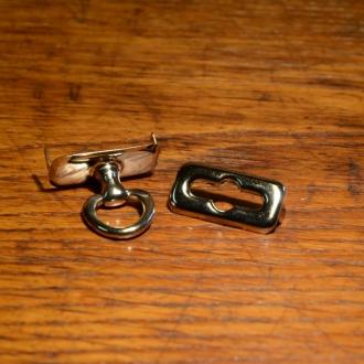 Taschenverschluß, Messing vernickelt, 2-teilig