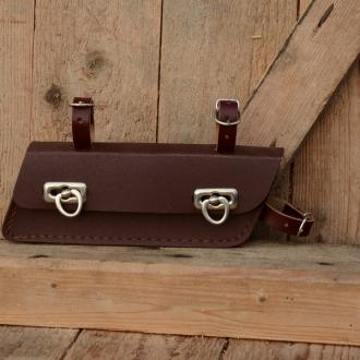 Werkzeugtasche, Lefa, rotbraun, Trapezform, Beschläge vernickelt, passend für viele Herrenradklassiker