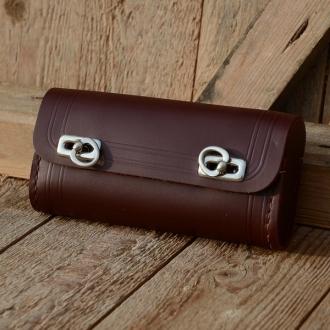 Satteltasche Leder, rotbraun, große Ausführung 175 x 85 x 40mm, Beschläge vernickelt, passend für alle Klassiker